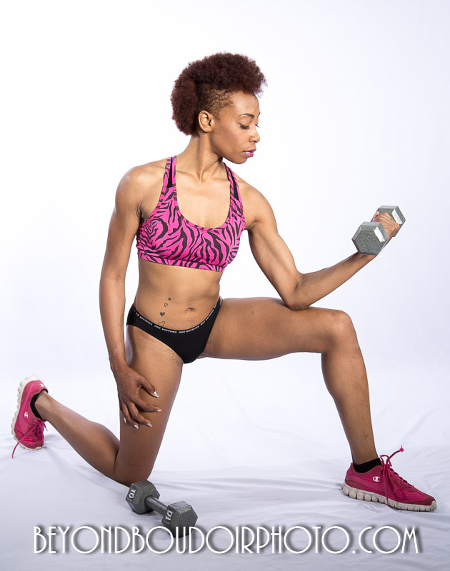 Erotic-Fitness-Photoshoot-pink sneakers-weights-mohawk